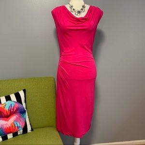 Banana Republic Pink Cowl Neck Midi Dress NWT